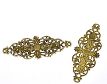 Filigree : 10 Antique Bronze Filigree Flower Wraps / Brass Ox Filigree Connectors ... Lead, Nickel & Cadmium Free Jewelry Findings 13809.R