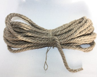 10 mm Linen Rope = 11 Yards = 10 Meters Natural Linen Cord - Natural Color - Organic Natural Fiber Cord - Decorative Rope