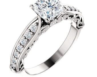 1.1ct Forever Brilliant Moissanite Solid 14K White Gold Diamond Engagement Ring, cushion cut- ST233176C