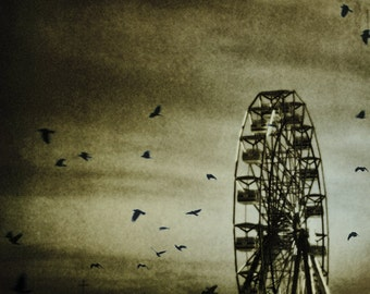 Night Carnival Photograph Sepia Print, Dark Circus, Crows, Ferris Wheel, Dark Carnival Town Wall Art 8x8