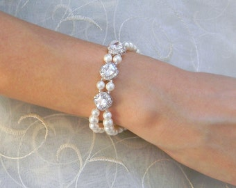 Bridal bracelet,  Wedding jewelry, Cushion cut crystal bracelet, Swarovski, Dainty Bridesmaid jewelry, Leena Bracelet