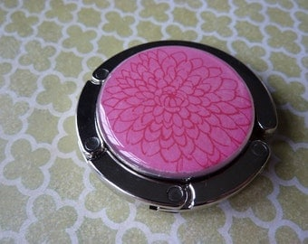 Foldable Purse Hook Pink Bloom
