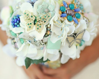 Brooch Bouquet Vintage green mint aqua blue bridal bouquet