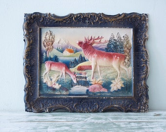 Die Cut Moulded Paper circa 1950 - Moose and deer landscape scene - Made in Germany