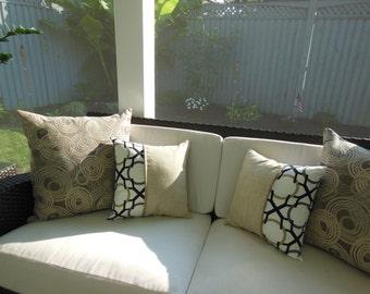 Beige Pillow - Black Pillow - Gold Pillow - Mode Perfect Fit Reversible Pillow - 15 x 15 Inch - Champagne Royal Chevron - Barley Linen