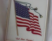 Painted Glass Patriotic Wall Hanging American Flag God Bless America Framed Glass Picture Art