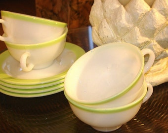 Pyrex Cups & Saucers 4 Four Sets Vintage to Antique Age Lime Green (Chartreuse) Border on White  Made in USA REDUCED PRICE
