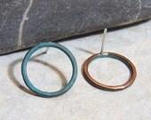 Verdigris Post Hoop - Teal blue Patina - Handcrafted earrings - sterling silver post studs