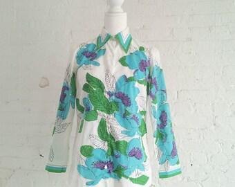 1960s Vera Neumann Floral Shirt 60s Vintage White Cotton Screen Print Turquoise Purple Flower Medium Large Summer Novelty Print Shirt Blouse