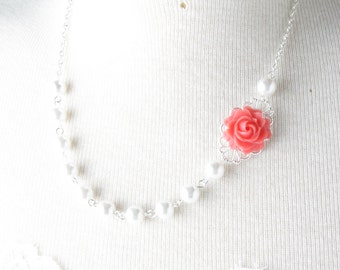 coral bridesmaid necklace - Coral wedding jewelry  - shabby chic - pearl  necklace - rose necklace - bridesmaid jewelry - coral wedding