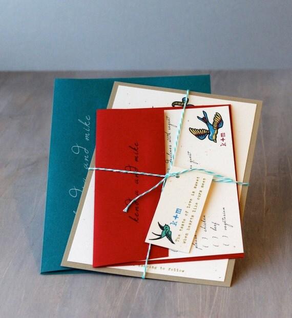 Rolled Wedding Invitations: Items Similar To Modern Wedding Invitations, Tattoo
