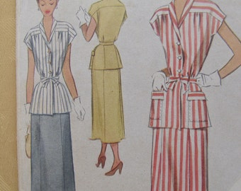 1949 McCall Two-Piece Suit Dress with Tie Belt Sewing Pattern 7620, Size 16, Bust 34, Uncut