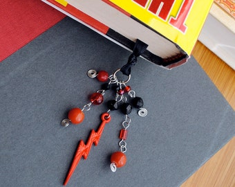 Lightning Book Thong Beaded Bookmark Red and Black Reading Club Science Teacher Gift