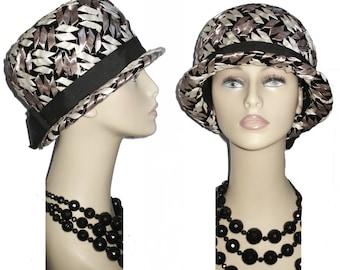 Vintage 1950s Hat Raffia Femme Fatale Couture Mad Men Garden Party Rockabilly Designer Dress Pinup Bombshell Coat Jacket