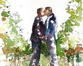 Wedding Portrait, Original watercolor portrait, wedding gift, wedding keepsake