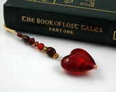 20% OFF! - Caramel Blood Red Glass Heart bookmark, gold-plated, Valentine's Day gift, Book lover, teacher gift