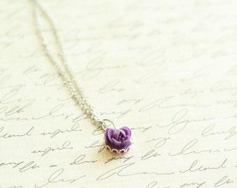 Petite Purple Rose Necklace - Mothers Necklace - Mom Necklace - Birthstone Necklace - Grandmother's Necklace - Bridesmaid Rose Necklace