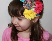 Rainbow Yellow Hot pink Triple Chiffon Flower Rosettes w Pearl Accents on Turquoise Blue Elastic Headband - Many Sizes Available