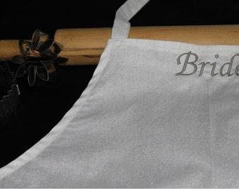 Bride Apron - White with Silver Sparkles
