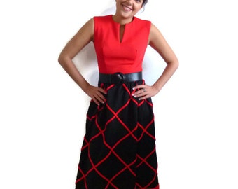 Vintage 60s Romantic Red and Black Sleeveless Casual/Formal Dress, Size Extra Small - Small XS-S