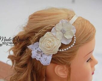 53 DIFFERENT COLORS- Ivory Flower Girl Headband-Bridesmaid Headband-Wedding Head Piece