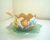 Luster Ware Sauce Bowl Made in Japan Colorful Lotus Shape