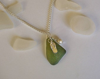 Flip flops Beach glass necklace. Beach glass jewelry. Beach necklace.