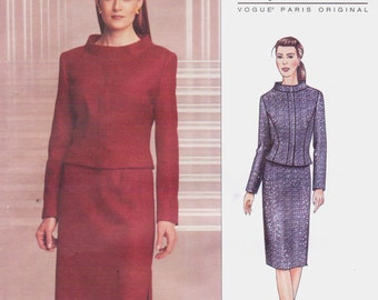 Guy Laroche Womens Top or Jacket and Skirt Vogue Paris Original Sewing Pattern 2689 Size 6 8 10 Bust 30 1/2 to 32 1/2 UnCut