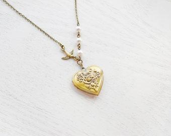Heart Locket Necklace,Rose Locket Jewelry,Bird Necklace,Romantic Gift,Engraved Rose Locket,Love Jewelry,Love Locket Pendant,Charm Locket