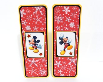 Mickey Mouse Inspired Christmas: Paper Bookmarks Set of 2- approx. 2 1/2 x 7 inches