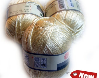 Yarnart pearl natural viscose yarn. Ecru color (F246). Set of 6 balls. Wholesale. DSH