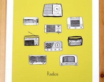 pen and ink drawing Vintage Radios