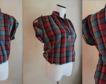 Vintage 50s Plaid Country Chic T-Shirt M