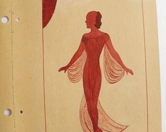 Original Art School Red Ink Fashion Drawing 1933-35