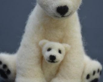 Needle Felted Mama and Baby Polar Bear