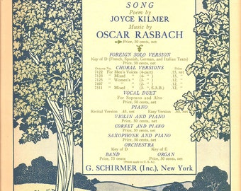 1922 Trees Sheet Music Antique Woodland Forest Nature Scene Joyce Kilmer Poetry Piano Ballad - Illustration Typography Wall Art Decor Print