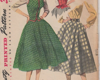 Bust 30-1950's Misses' Weskit and Skirt Simplicity 3981 Size 12
