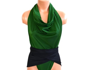 Large Bathing Suit Hunter Green and Classic Black Wrap Around Swimsuit Convertible Swimwear One Wrap for Women, Teens and Maternity hisOpal