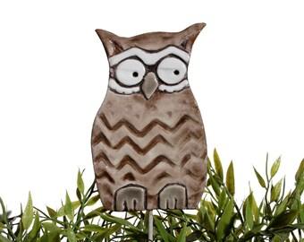 Owl garden art - plant stake - garden decor - owl ornament  - ceramic owl - large - brown