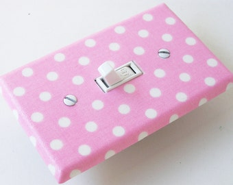 BABY PINK POLKA Dots Light Switch Cover Plate Switchplate Nursery Decor