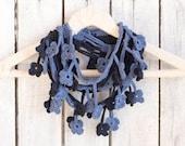 Denim Blue Floral Scarf, Egyptian Cotton Crochet Navy Loop Scarf
