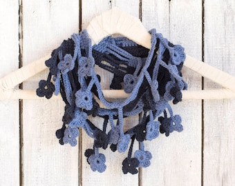 Denim Blue Floral Scarf, Egyptian Cotton Crochet Navy Loop Scarf, Shabby Chic Accessories