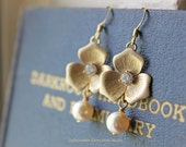 Gold Plated Flower and Pearl Earrings