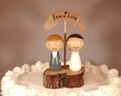 3D Kokeshi Wedding Cake Topper with Rustic Tree Slice Base and Wooden Banner Custom Cake Topper