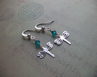 Delicate Dragonfly Earrings  - Sterling Silver Plated Dragonfly Charm Teal Crystal Earrings