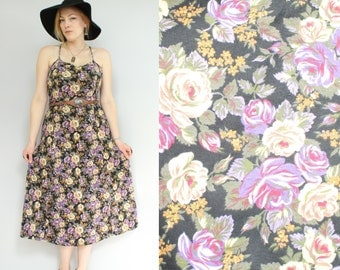 SALE - 90s - Purple & Black - Rose Floral - Lace Up - Criss Cross -  Open Back - Sleeveless Spaghetti Stap - Maxi Dress