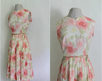 VINTAGE DAY DRESS| 1950s Vintage Floral Day Dress| Bridal Reception Wedding Party Dress|50s 60s Watercolor Floral Crepe  Dress
