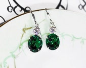 Emerald Earrings Vintage 50's Emerald Glass and Crystal Rhinestones New Silver Plated Leverbacks May Birthstone Wedding Jewelry Prom