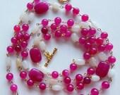Raspberries and creme Jade necklace 517