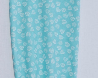 Fabric Plastic Grocery Bag Holder Aqua with White Leaves